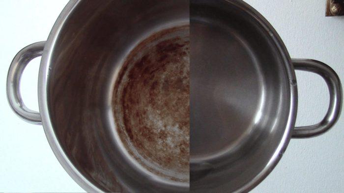 до и после применения средства по удалению нагара в кастрюле